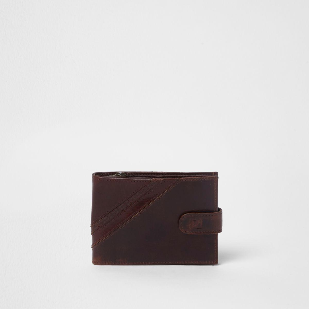 Dark brown popper button tab leather wallet
