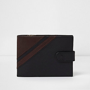Black and brown diagonal block leather wallet
