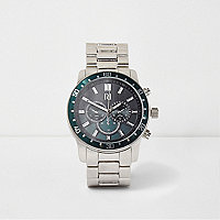Silver tone green bezel link strap watch