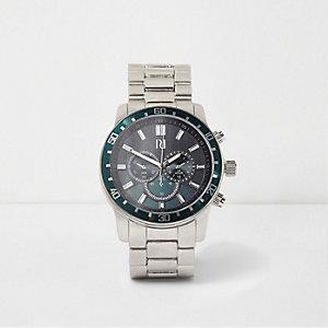 Silver tone green bezel link strap watch