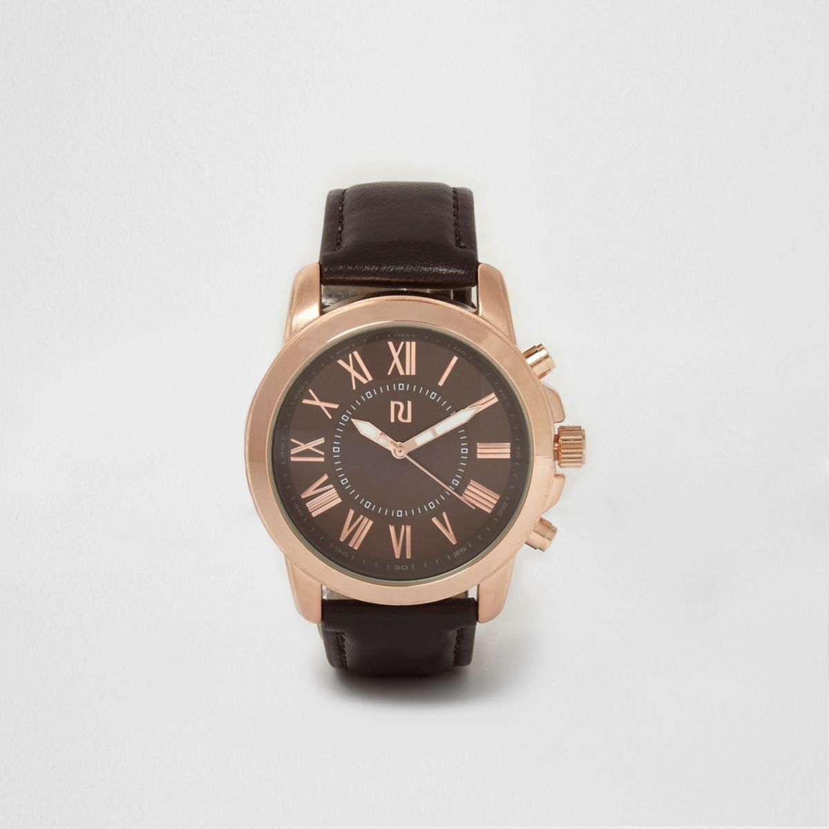Dark brown and rose gold round face watch
