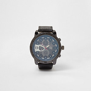 Black faux leather large round bezel watch