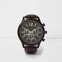 Brown round face watch