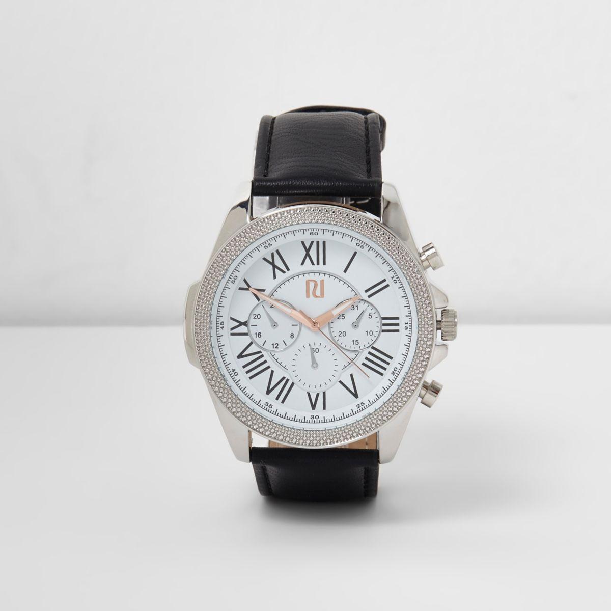 Black large embellished round case watch