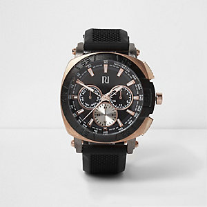 Black rose gold tone watch