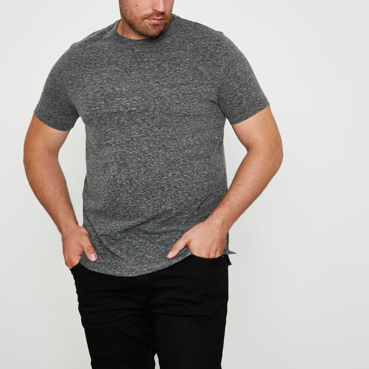 Big & Tall – Graues Slim Fit T-Shirt