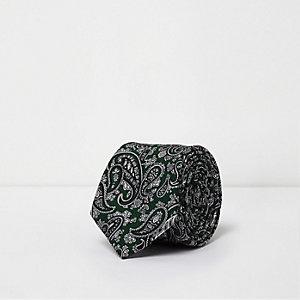 Groene stropdas met paisleymotief