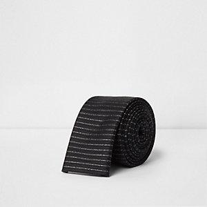 Cravate rayée noire pailletée