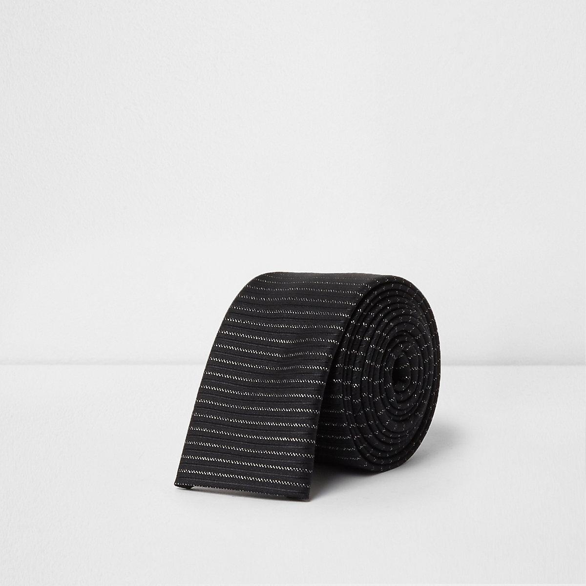 Black glitter stripe tie