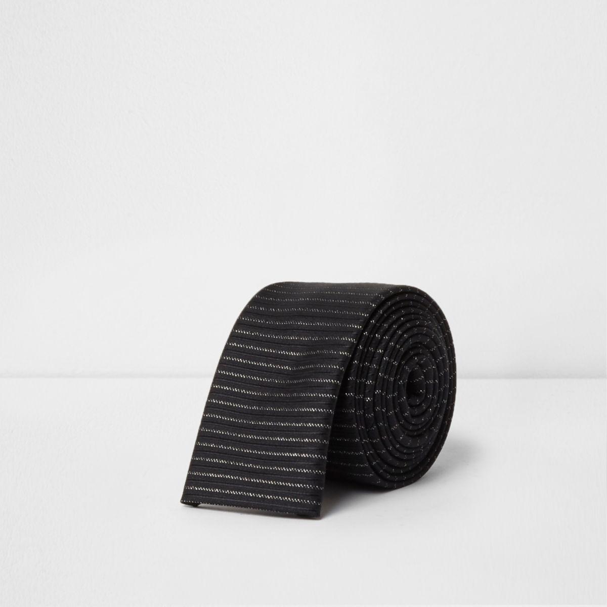 Zwarte stropdas met glitterstrepen