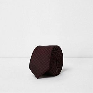 Bordeauxrode stropdas met gingham-ruit