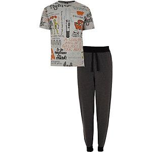 Graues Loungewear-Set mit Star-Wars-Print