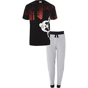 Black Spiderman print loungewear set