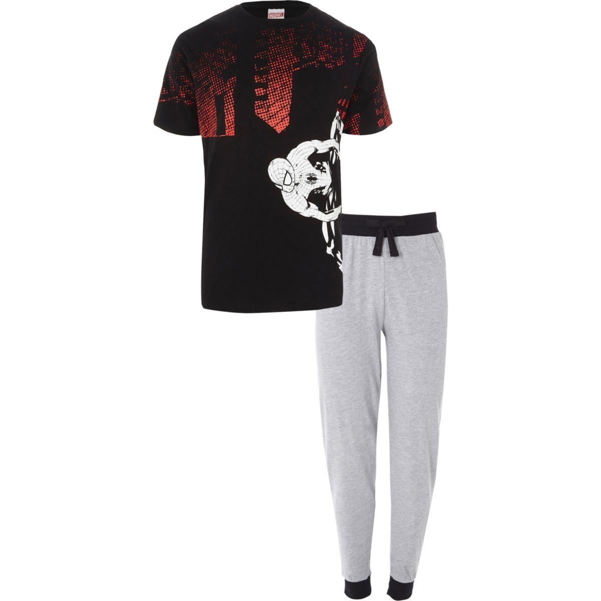 black spiderman print loungewear set pyjamas loungewear