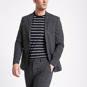 Dunkelblaue Skinny Anzugsjacke mit Revers