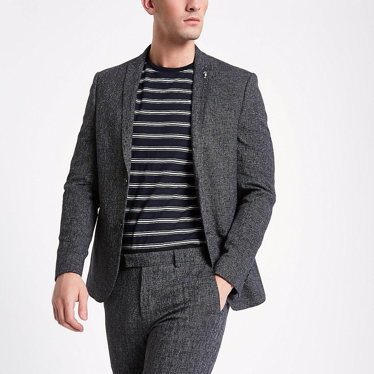 Dark blue peak lapel skinny suit jacket