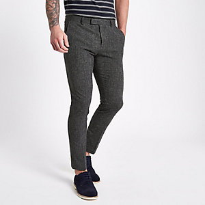 Navy textured skinny fit suit trousers