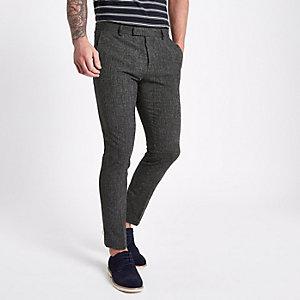 Pantalon de costume skinny bleu marine texturé