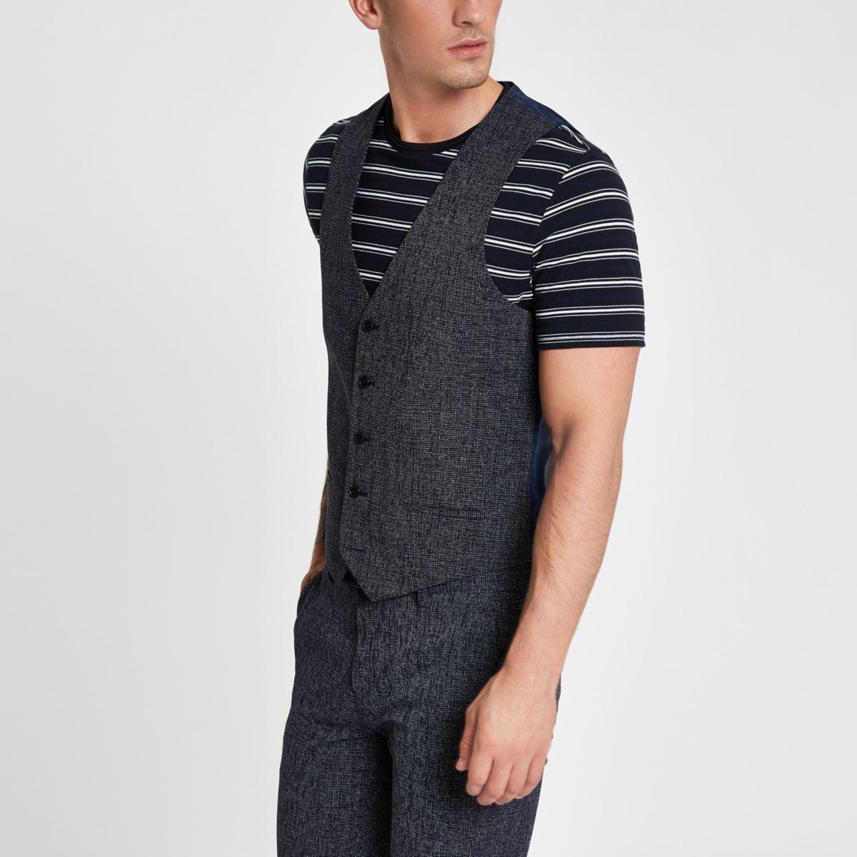 Navy textured suit waistcoat