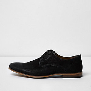 Black waxed leather lace-up smart shoes