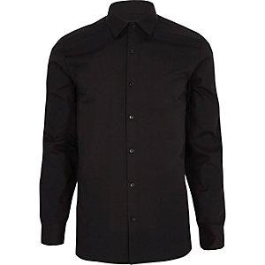 Zwart net overhemd met lange mouwen