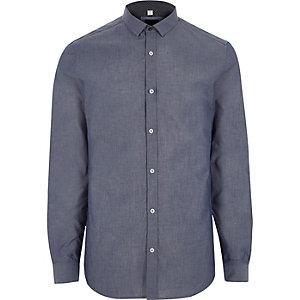 Big & Tall – Blaues, langärmliges Chambray-Hemd