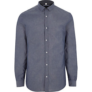 Big and Tall - Blauw chambray overhemd met lange mouwen