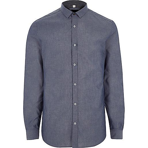 Big and Tall blue chambray long sleeve shirt