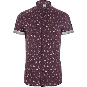 Burgundy ditsy floral print skinny fit shirt