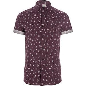 Bordeaurood skinny-fit overhemd met ditsyprint