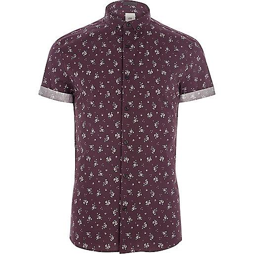 Burgundy ditsy floral print skinny fit shirt