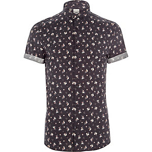 Black ditsy floral print skinny fit shirt