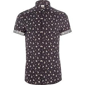Zwart skinny-fit overhemd met ditsyprint