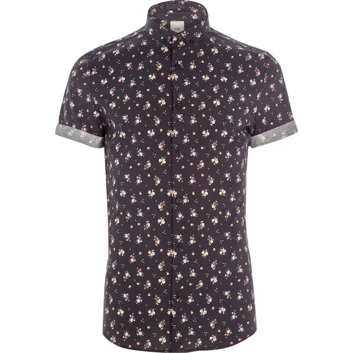 Black ditsy floral print skinny fit shirt shirts sale for Black floral print shirt