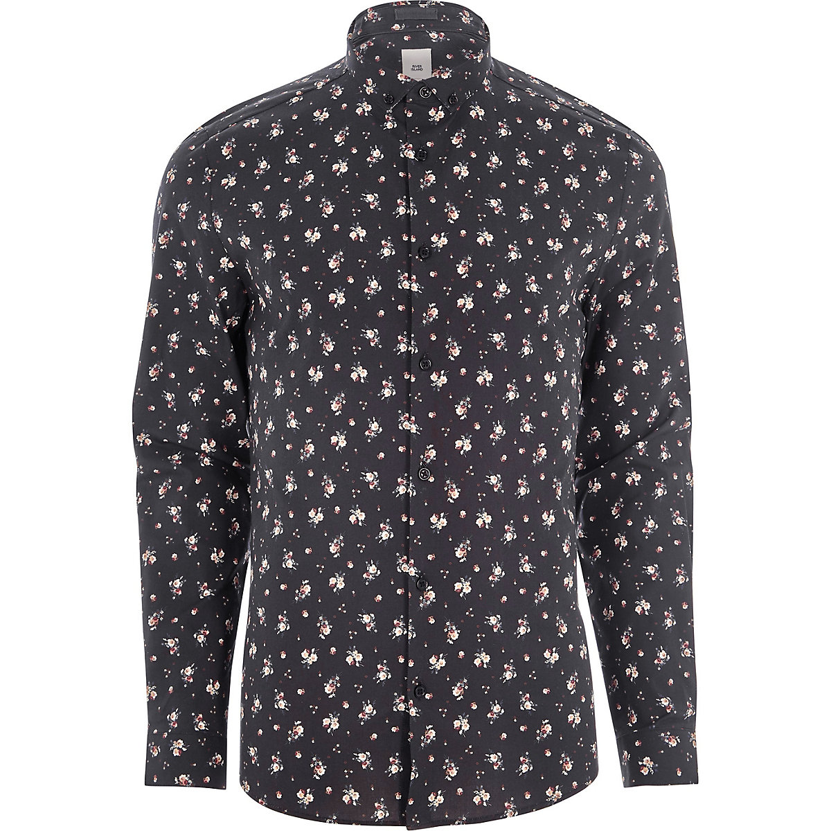 Chemise skinny à petites fleurs noire