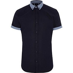 Big and Tall - Marineblauw overhemd met stippen op de kraag