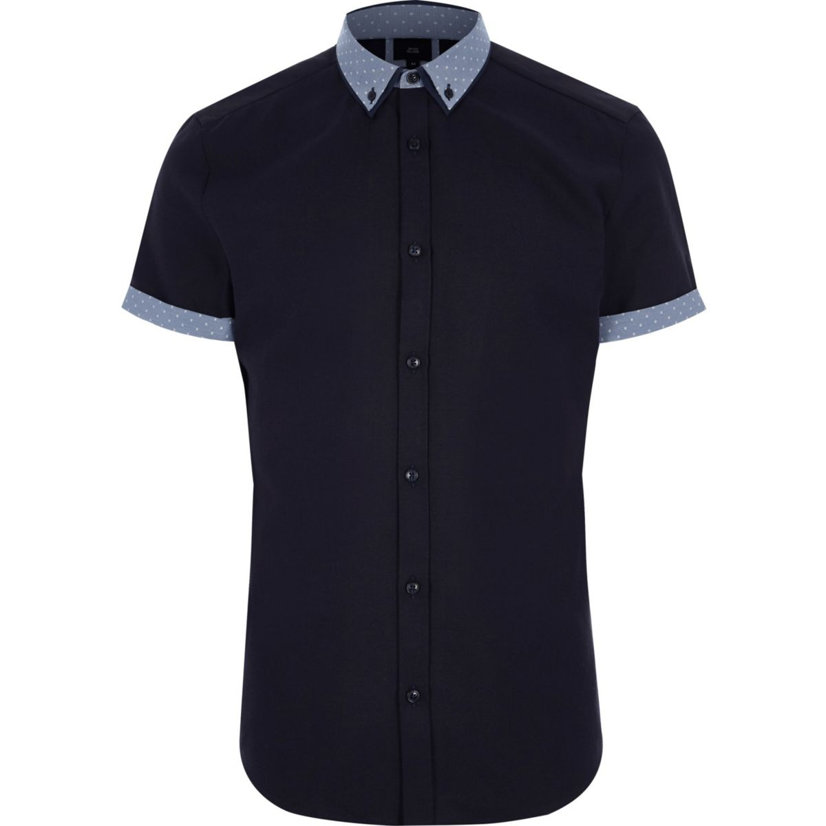 Big and Tall navy polka dot collar shirt