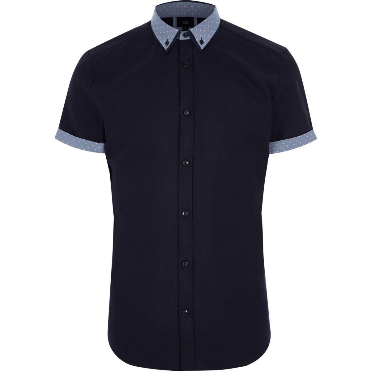 Big and Tall navy polka dot collar shirt