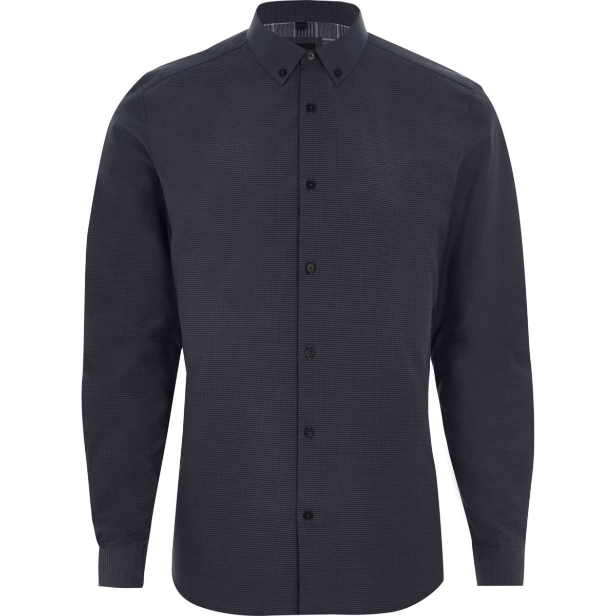 Big and Tall - Blauw geruit overhemd met button-downkraag
