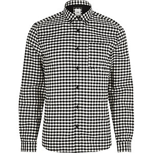 Big and Tall black gingham check shirt
