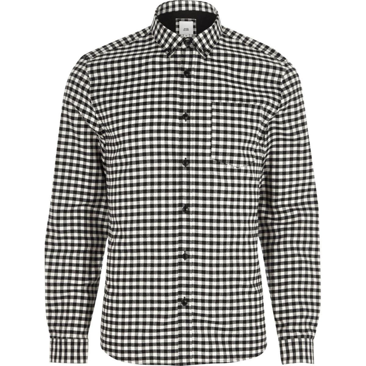Big and Tall - Zwart overhemd met gingham-ruit