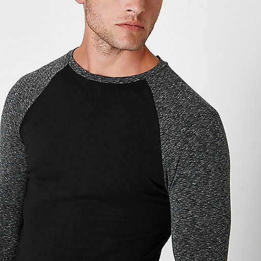 Black long raglan sleeve muscle fit T-shirt