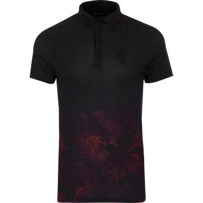 Black floral fade slim fit polo shirt