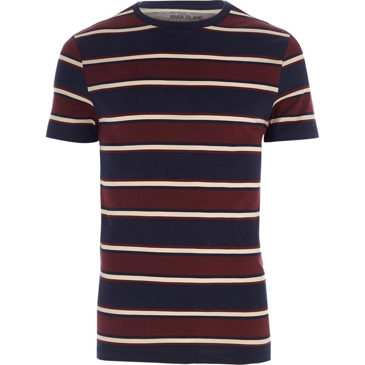 T-shirt ajusté rayé bleu marine