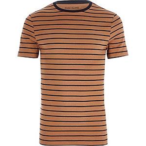 Hellbraunes Muscle Fit T-Shirt mit Streifen