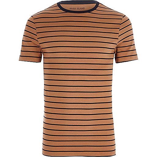 Light brown stripe print muscle fit T-shirt