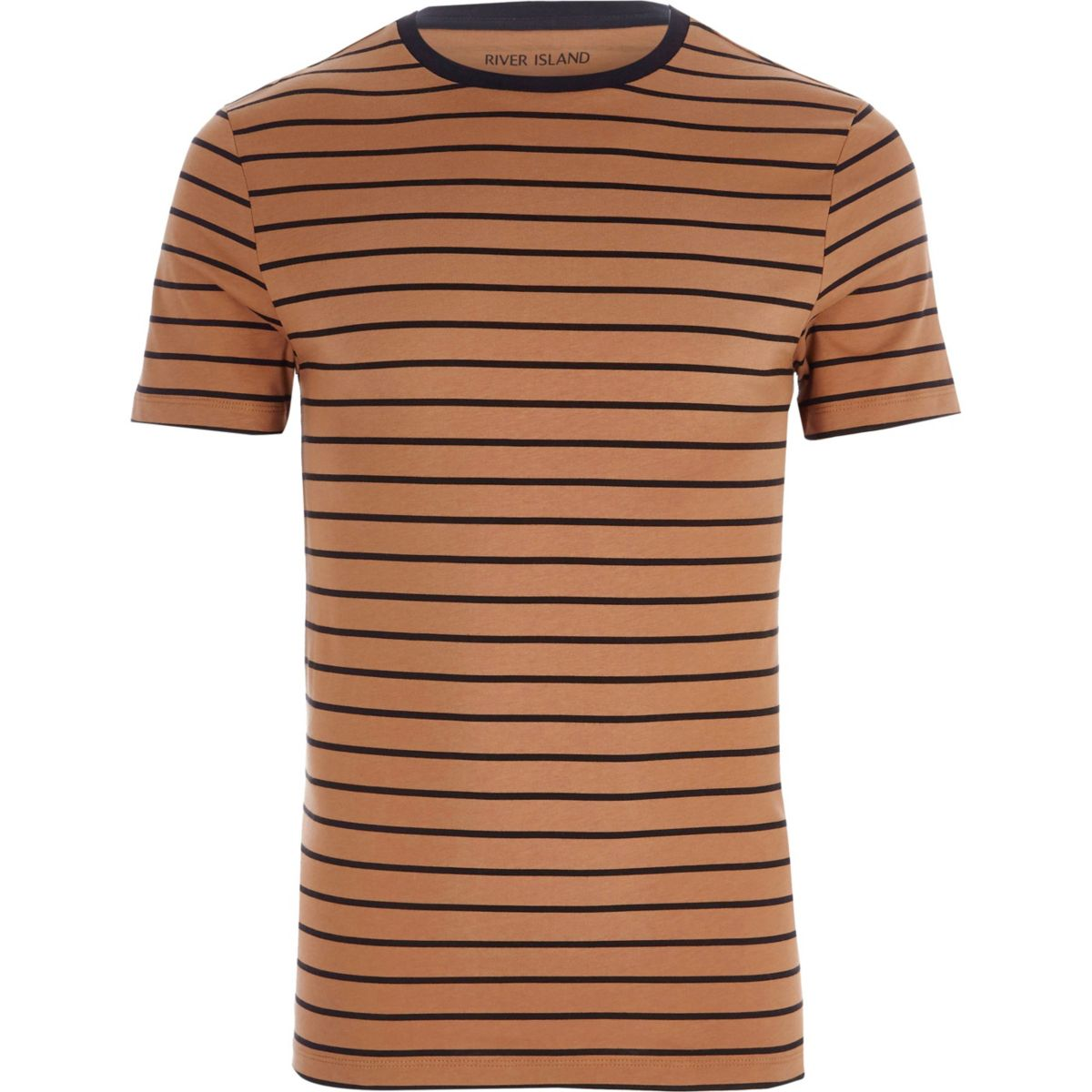 Light brown stripe print muscle fit T-shirt