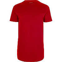 Big and Tall red curved hem T-shirt