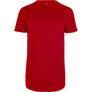 Big and Tall - Rood T-shirt met ronde zoom