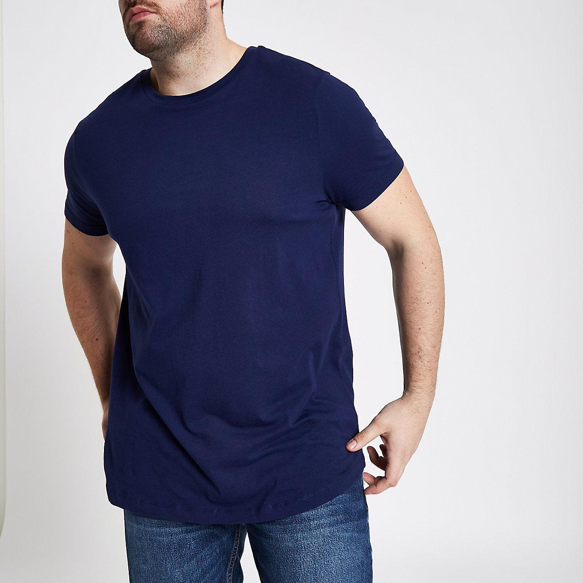 Big and Tall - T-shirt bleu marine à ourlet arrondi